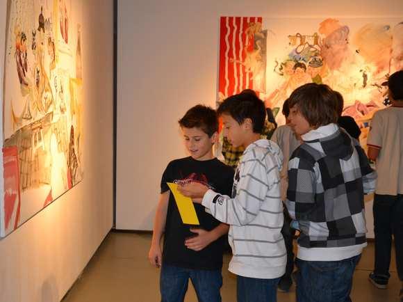 Schulklasse beim Workshop in der Ladengalerie Burgenland